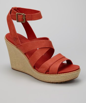 Dark Red Danforth Wedge Sandal