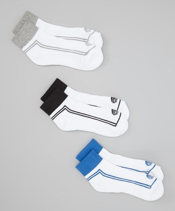 White & Blue Quarter Socks Set