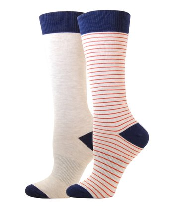 Oatmeal & Melon Cotton-Blend Crew Socks Set