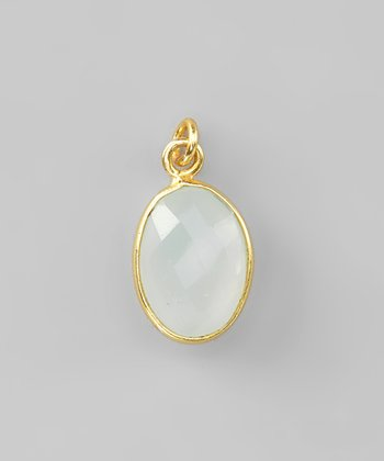 Sea Green Chalcedony & Gold Pendant