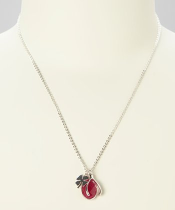 Ruby & Sterling Silver Lucky Charm Necklace