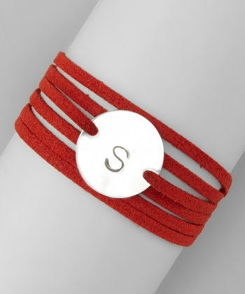Sterling Silver & Red Lauren Initial Wrap Bracelet
