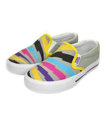 Gray & Yellow Bolts Slip-On Sneaker