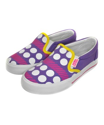 Purple & Yellow Polka Stripes Slip-On Sneaker