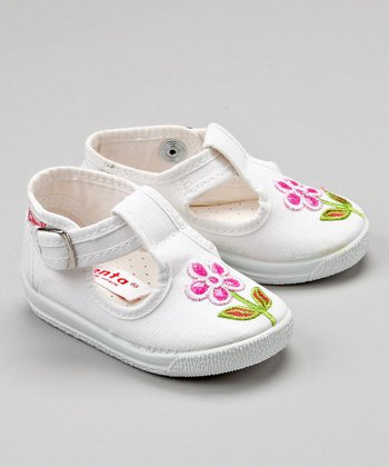 White Flower T-Strap Shoe