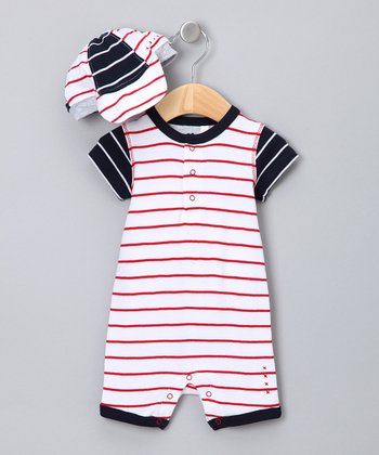 Red Stripe Romper & Baseball Hat