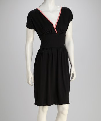 Black & Pink Surplice Dress