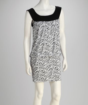 Black & White Wide-Band Hem Dress