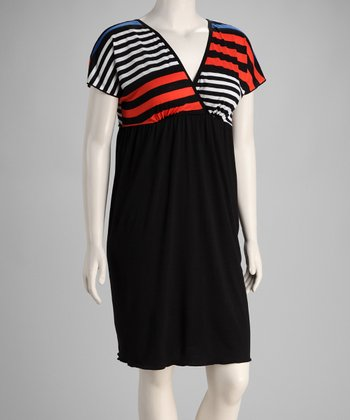 Black Stripe Plus-Size Empire-Waist Dress