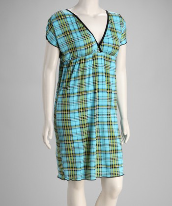 Blue Plaid Empire-Waist Dress - Plus
