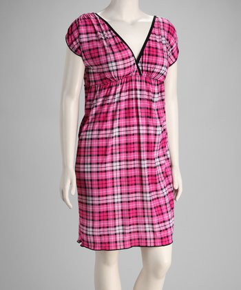 Pink Plaid Plus-Size Empire-Waist Dress