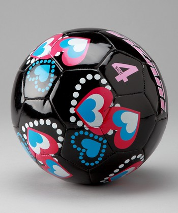 Black Retro Hearts Soccer Ball