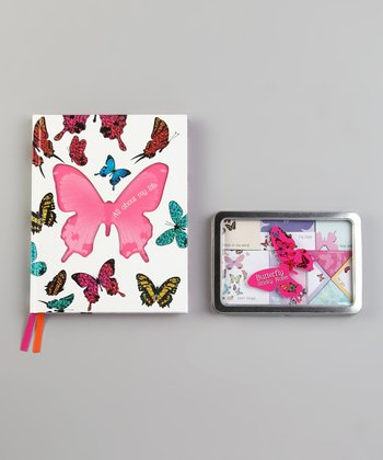 Butterfly Journal Hardcover & Sticky Notes Set