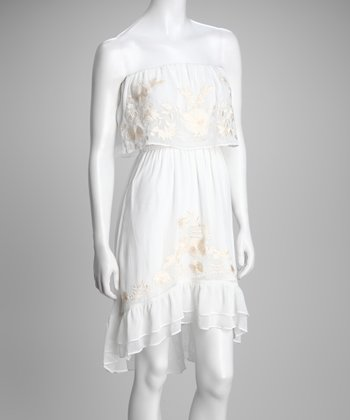White Embroidered Strapless Dress