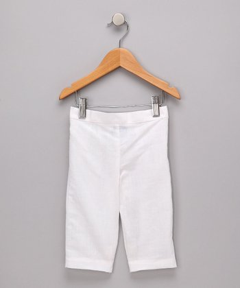White Linen Capri Pants - Toddler & Girls