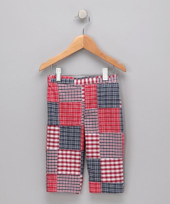 Red & Navy Plaid Patchwork Capri Pants - Toddler & Girls