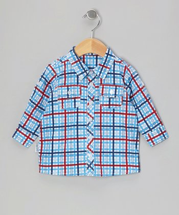 Blue Checkerboard Button-Up - Infant & Boys