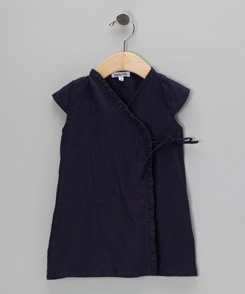 Navy Ruffle Wrap Dress - Infant & Toddler