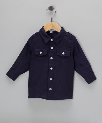 Navy Long-Sleeve Button-Up - Infant, Toddler & Boys