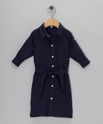 Navy Shirt Dress - Infant