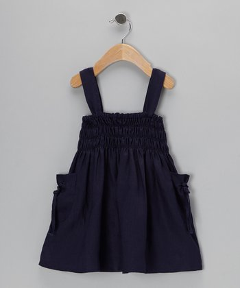Navy Shirred Dress - Infant, Toddler & Girls