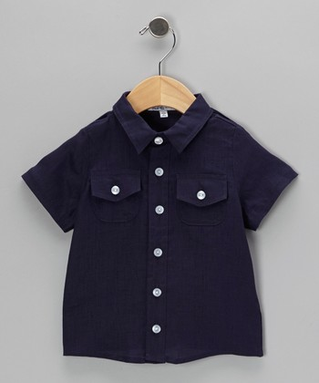 Navy Short-Sleeve Button-Up - Infant, Toddler & Boys