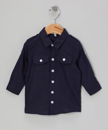Navy Linen Button-Up - Infant