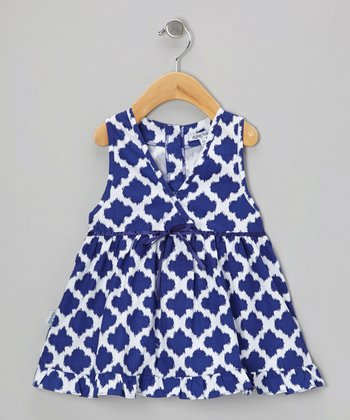 Navy Ikat Kumi Dress - Infant, Toddler & Girls