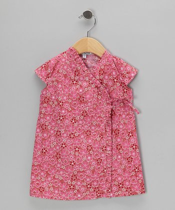 Pink Blossom Ruffle Wrap Dress - Infant, Toddler & Girls