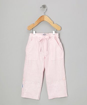 Pink Linen Cargo Pants - Infant & Girls