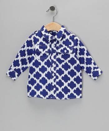 Navy Ikat Button-Up - Infant, Toddler & Boys