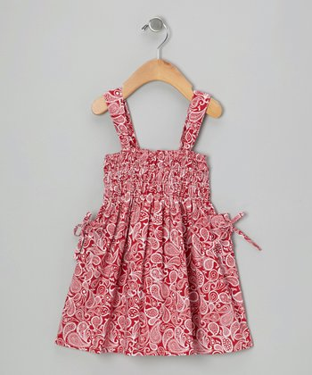 Red Paisley Shirred Dress - Infant, Toddler & Girls
