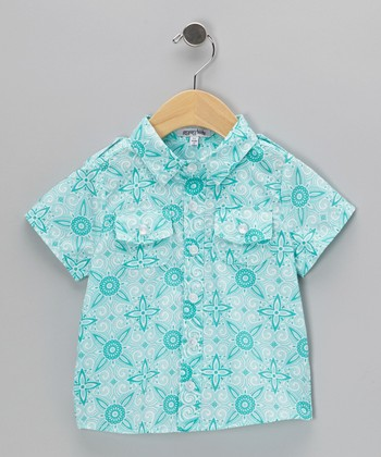 Turquoise Tangiers Button-Up - Infant, Toddler & Boys