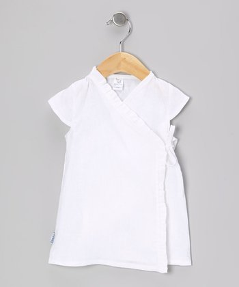 White Linen Ruffle Wrap Dress - Infant & Girls