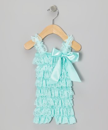 Aqua Lace Ruffle Romper - Infant