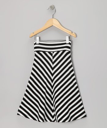 Black & Off-White Chevron Maxi Skirt - Infant, Toddler & Girls
