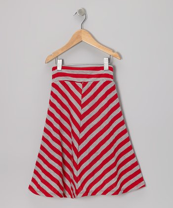 Red & Gray Stripe Maxi Skirt - Infant