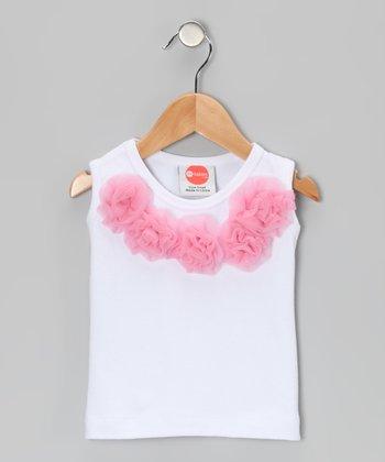 Pink & White Rosette Tank - Infant