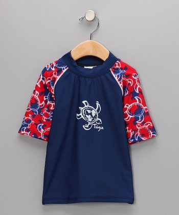TUGA Navy & Red Short-Sleeve Rashguard - Toddler & Boys