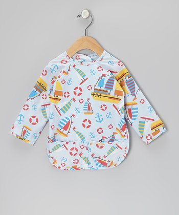 Blue Boats Long-Sleeve Bib - Infant, Toddler & Kids
