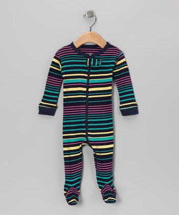 Yellow & Teal Stripe Footie - Infant, Toddler & Kids