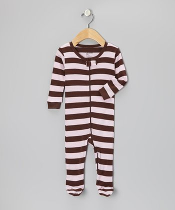 Pink & Brown Stripe Footie - Infant, Toddler & Kids