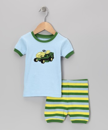 Blue & Green Lawn Mower Pajama Set - Infant, Toddler & Kids