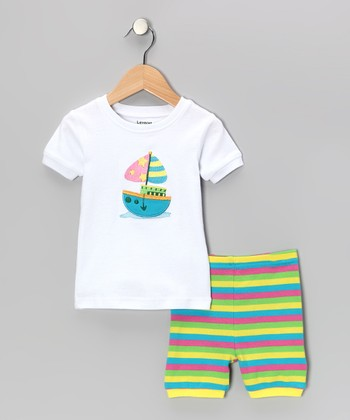 White Stripe Sailboat Pajama Set - Infant, Toddler & Kids