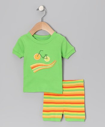 Green Stripe Bike Pajama Set - Infant, Toddler & Kids