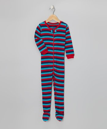 Red & Navy Stripe Footie - Infant, Toddler & Kids