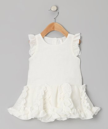 Cream Linen Skirted Bodysuit - Infant