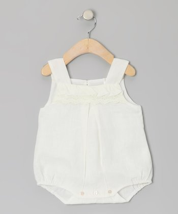 White Linen Bubble Bodysuit - Infant