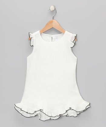 Black & White Linen Ruffle Dress - Infant & Toddler