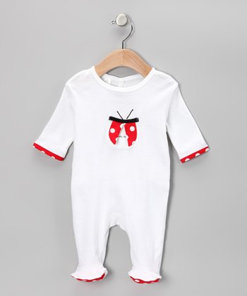 White 'Lucky Me' Footie - Infant